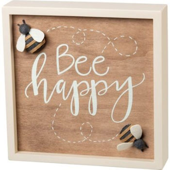 Bee Happy Inset Box Sign
