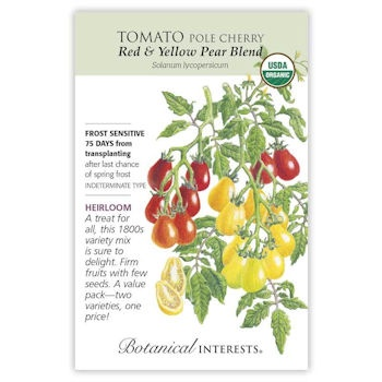 Red & Yellow Pear Blend Pole Cherry Tomato Seeds ORG, Heirloom